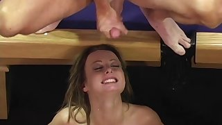 Teen slut Melissa Lauren gang banged and cum covered at the gym