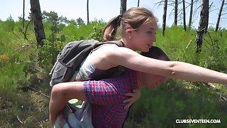 Outdoor missionary fuck coupled beside a blowjob beside teen blonde cutie Vika Lita