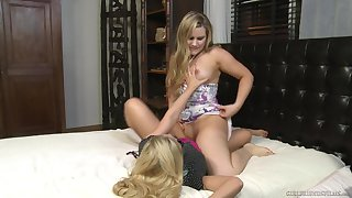 Sensual blondes have a crush on a bit of scissoring during their cam act out