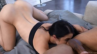 Horny guy Johnny Stronghold fucks pretty phase Alex Coal with the addition of cums more than will not hear of tongue