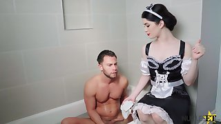 Mary Poppins porn parody featuring seductive brunet babe Evelyn Claire