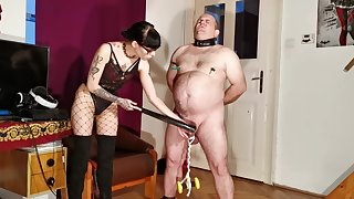Goth domina painful CBT & bellypunch her fat resultant pt1 HD