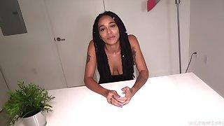 Extra-hot skinny ebony teen gives interview