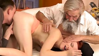 Old german Vanessa, her boypartner and his father wished