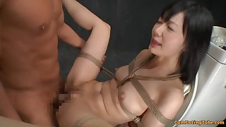 Asian cutie gets plighted increased by fucked on the toilet bowl